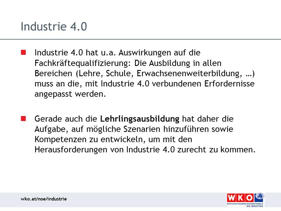 wko.at/noe/industrie Industrie 4.0 Industrie 4.0 hat u.a. Auswirkungen auf die Fachkräftequalifizierung: Die Ausbildung in allen Bereichen (Lehre, Sch