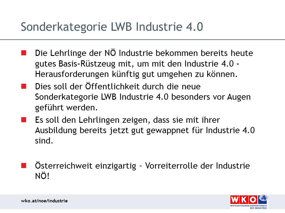 wko.at/noe/industrie Sonderkategorie LWB Industrie 4.0 Die Lehrlinge der NÖ Industrie bekommen bereits heute gutes Basis-Rüstzeug mit, um mit den Indu