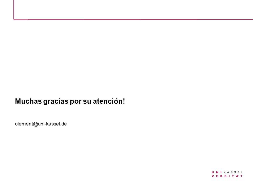 Muchas gracias por su atención! clement@uni-kassel.de