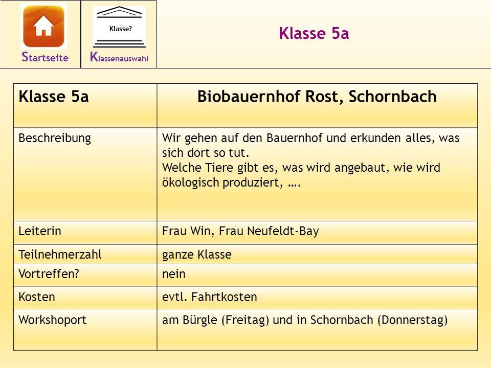12 Klasse 5a Biobauernhof Rost, Schornbach BeschreibungWir gehen auf den Bauernhof und erkunden alles, was sich dort so tut.