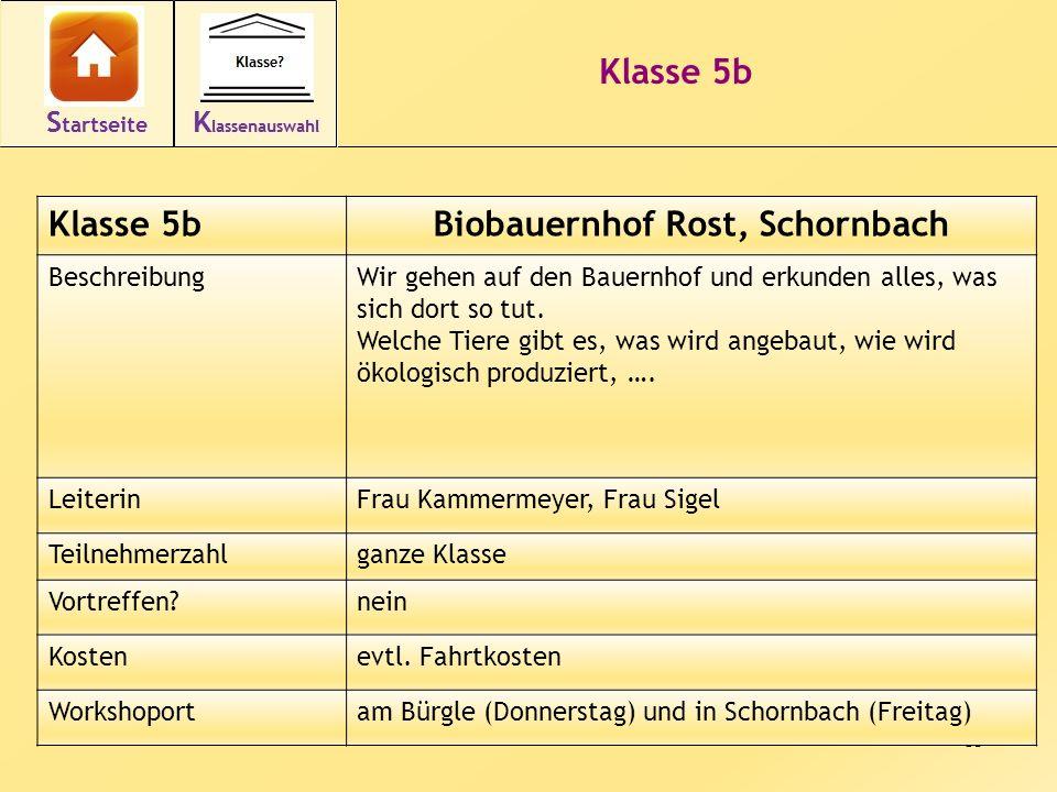 13 Klasse 5b Biobauernhof Rost, Schornbach BeschreibungWir gehen auf den Bauernhof und erkunden alles, was sich dort so tut.
