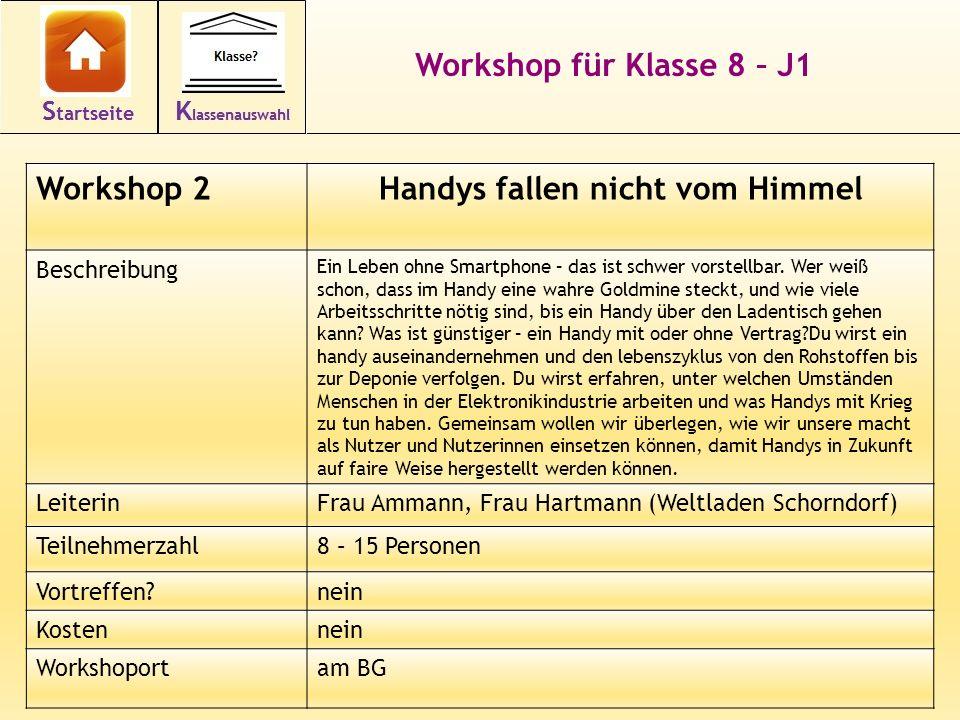 16 Workshop für Klasse 8 – J1 Workshop 2Handys fallen nicht vom Himmel Beschreibung Ein Leben ohne Smartphone – das ist schwer vorstellbar.