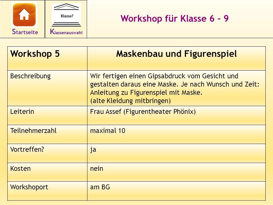 19 Workshop für Klasse 6 – 9 Workshop 5Maskenbau und Figurenspiel BeschreibungWir fertigen einen Gipsabdruck vom Gesicht und gestalten daraus eine Maske.