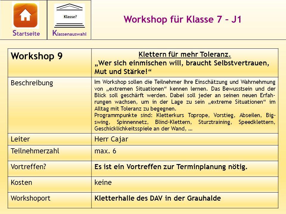 23 Workshop für Klasse 7 – J1 Workshop 9 Klettern für mehr Toleranz.