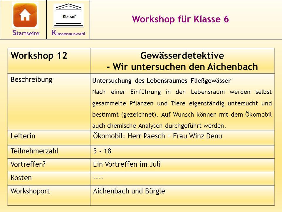26 Workshop für Klasse 6 Workshop 12Gewässerdetektive - Wir untersuchen den Aichenbach Beschreibung Untersuchung des Lebensraumes Fließgewässer Nach einer Einführung in den Lebensraum werden selbst gesammelte Pflanzen und Tiere eigenständig untersucht und bestimmt (gezeichnet).