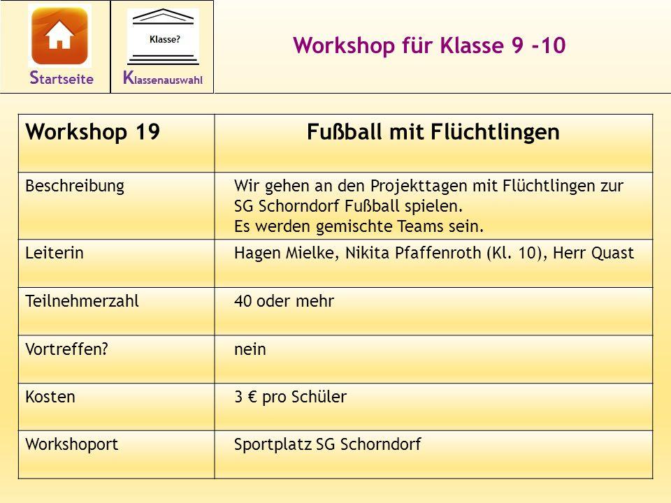 33 Workshop für Klasse 9 -10 Workshop 19Fußball mit Flüchtlingen BeschreibungWir gehen an den Projekttagen mit Flüchtlingen zur SG Schorndorf Fußball spielen.