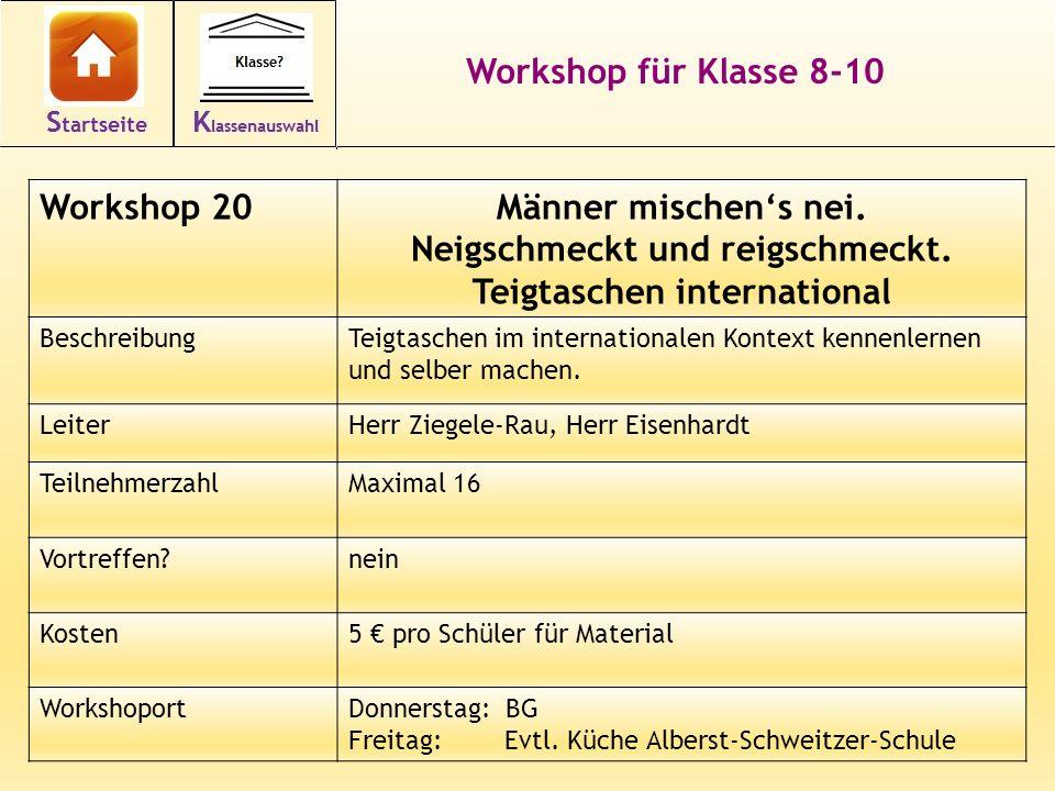 34 Workshop für Klasse 8-10 Workshop 20Männer mischen's nei.