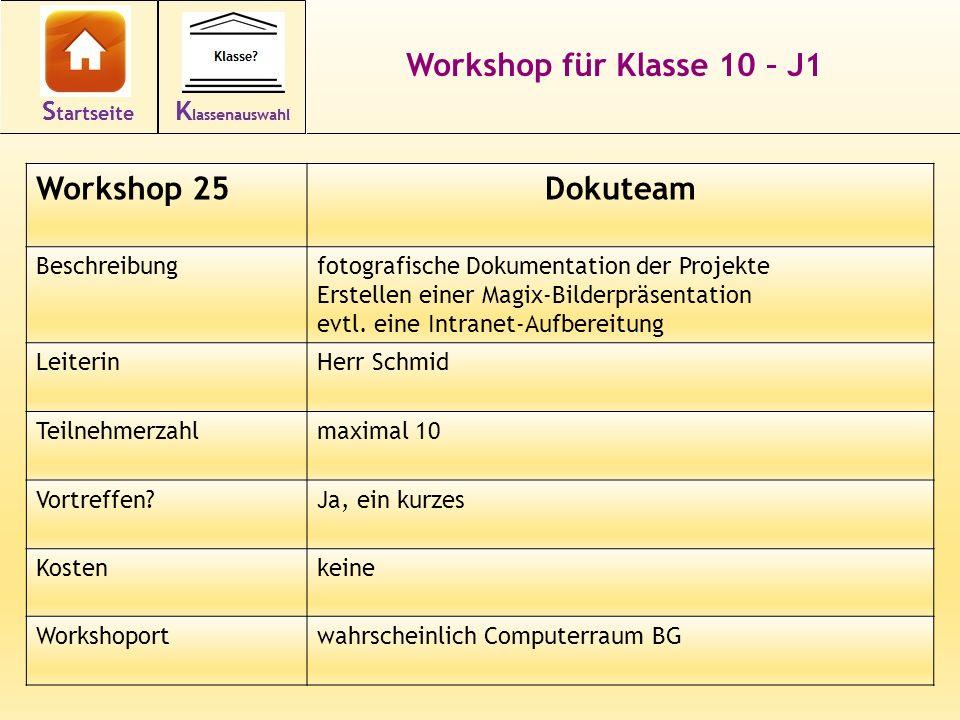 Workshop für Klasse 10 – J1 Workshop 25Dokuteam Beschreibungfotografische Dokumentation der Projekte Erstellen einer Magix-Bilderpräsentation evtl.