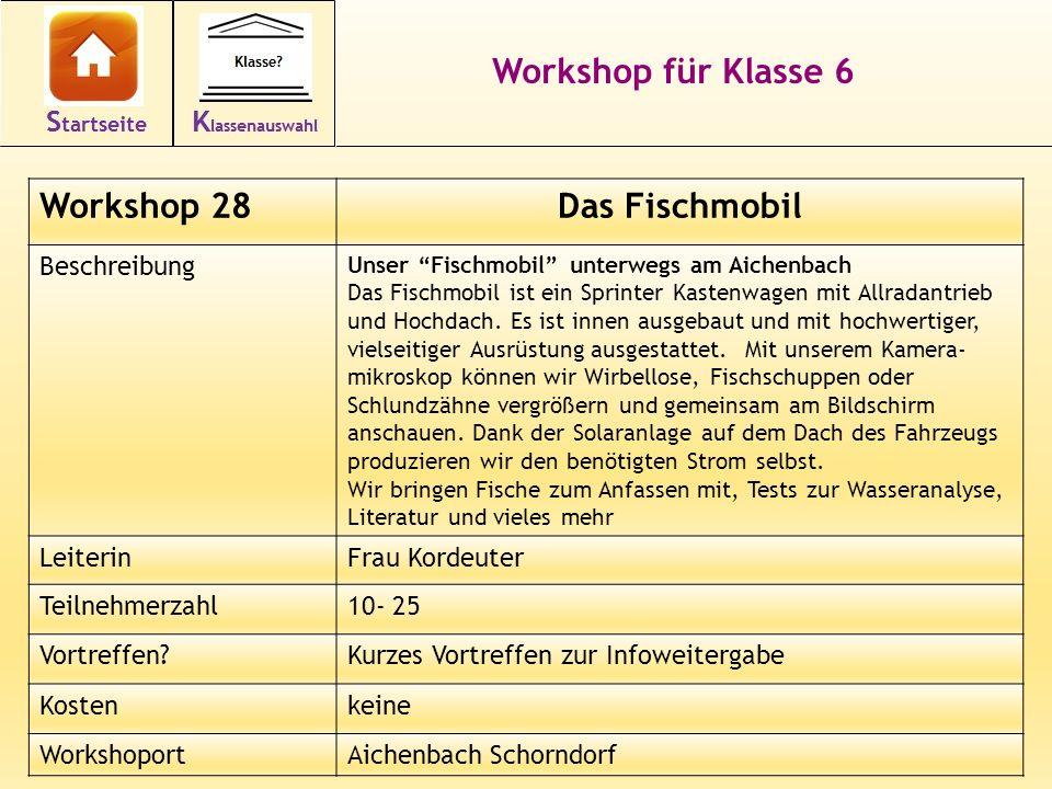 42 Workshop für Klasse 6 Workshop 28Das Fischmobil Beschreibung Unser Fischmobil unterwegs am Aichenbach Das Fischmobil ist ein Sprinter Kastenwagen mit Allradantrieb und Hochdach.