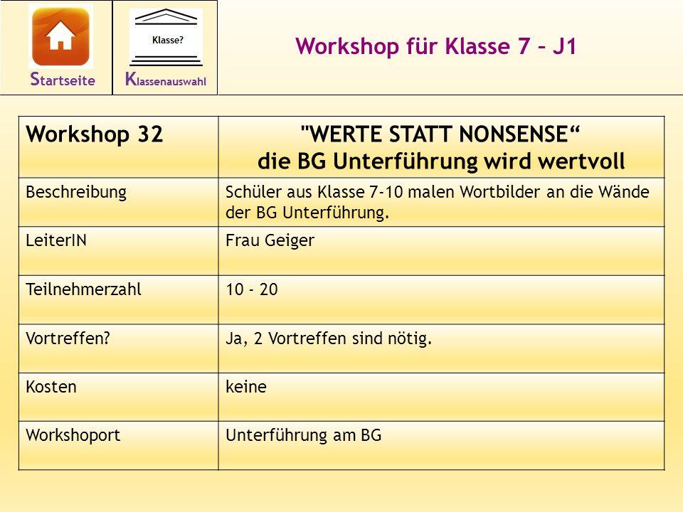 Workshop für Klasse 7 – J1 Workshop 32 WERTE STATT NONSENSE die BG Unterführung wird wertvoll BeschreibungSchüler aus Klasse 7-10 malen Wortbilder an die Wände der BG Unterführung.