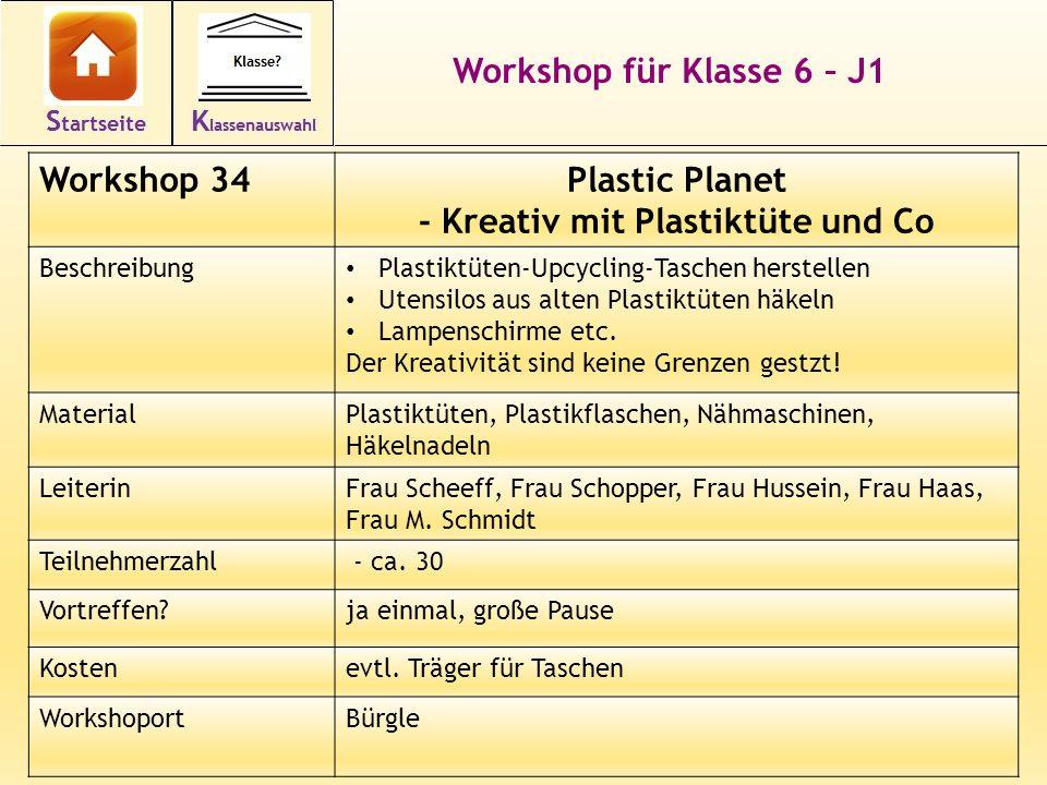 48 Workshop für Klasse 6 – J1 Workshop 34Plastic Planet - Kreativ mit Plastiktüte und Co Beschreibung Plastiktüten-Upcycling-Taschen herstellen Utensilos aus alten Plastiktüten häkeln Lampenschirme etc.