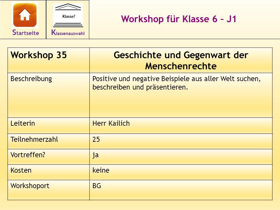 49 Workshop für Klasse 6 – J1 Workshop 35Geschichte und Gegenwart der Menschenrechte BeschreibungPositive und negative Beispiele aus aller Welt suchen, beschreiben und präsentieren.