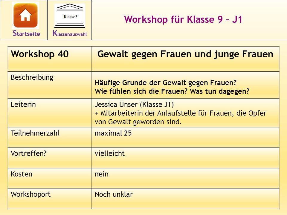 Workshop für Klasse 9 – J1 Workshop 40Gewalt gegen Frauen und junge Frauen Beschreibung Häufige Grunde der Gewalt gegen Frauen.
