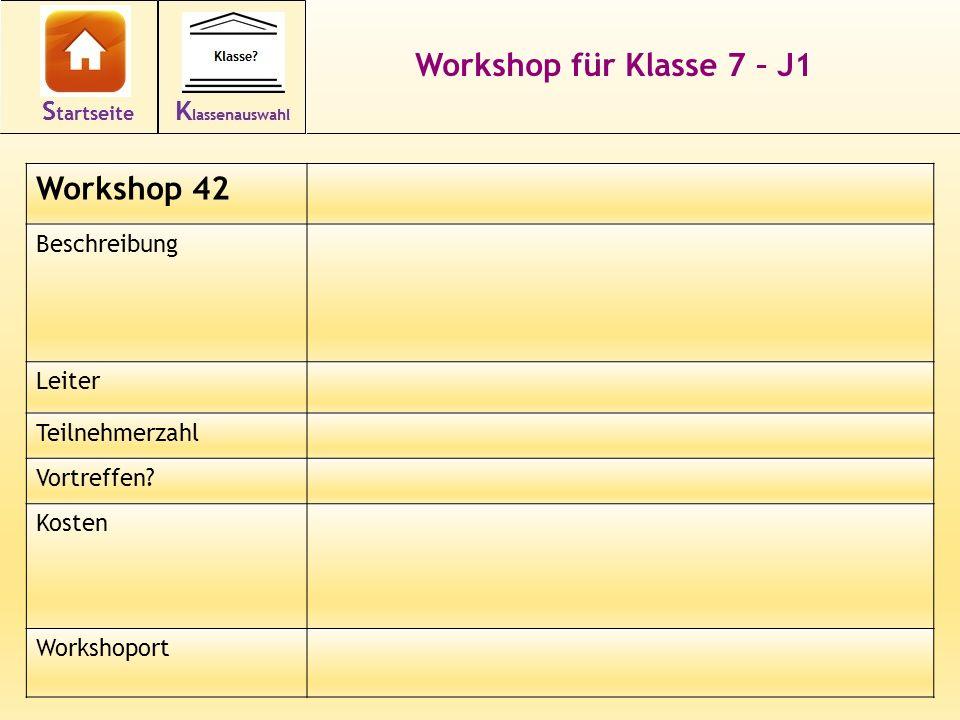 Workshop für Klasse 7 – J1 Workshop 42 Beschreibung Leiter Teilnehmerzahl Vortreffen.
