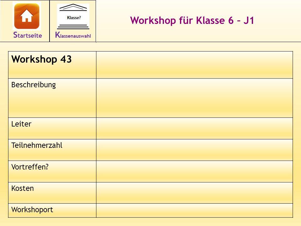 Workshop für Klasse 6 – J1 Workshop 43 Beschreibung Leiter Teilnehmerzahl Vortreffen.