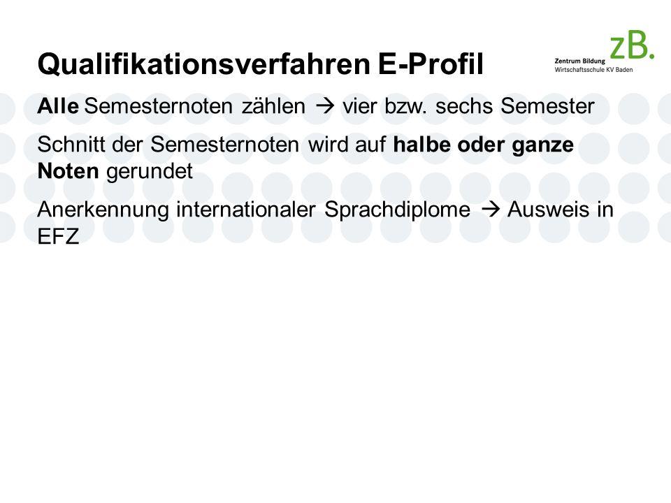 Qualifikationsverfahren E-Profil Alle Semesternoten zählen  vier bzw.