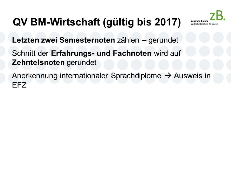 QV BM-Wirtschaft (gültig bis 2017) Letzten zwei Semesternoten zählen – gerundet Schnitt der Erfahrungs- und Fachnoten wird auf Zehntelsnoten gerundet Anerkennung internationaler Sprachdiplome  Ausweis in EFZ