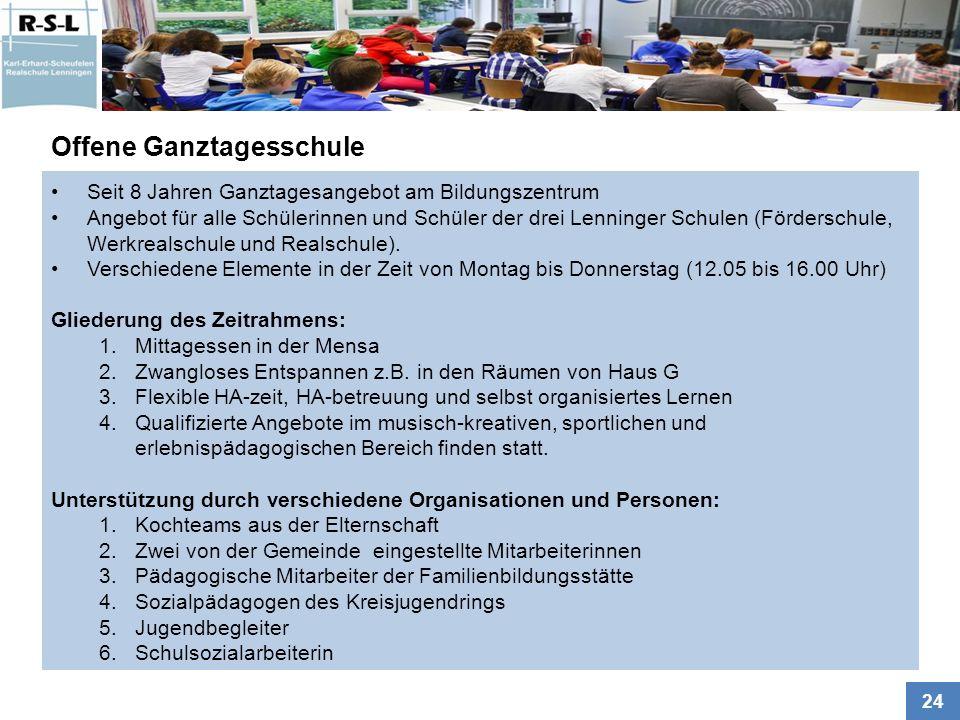 24 Seit 8 Jahren Ganztagesangebot am Bildungszentrum Angebot für alle Schülerinnen und Schüler der drei Lenninger Schulen (Förderschule, Werkrealschule und Realschule).