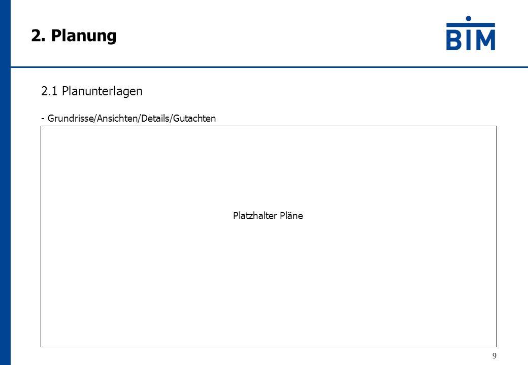 2. Planung 9 2.1 Planunterlagen - Grundrisse/Ansichten/Details/Gutachten Platzhalter Pläne