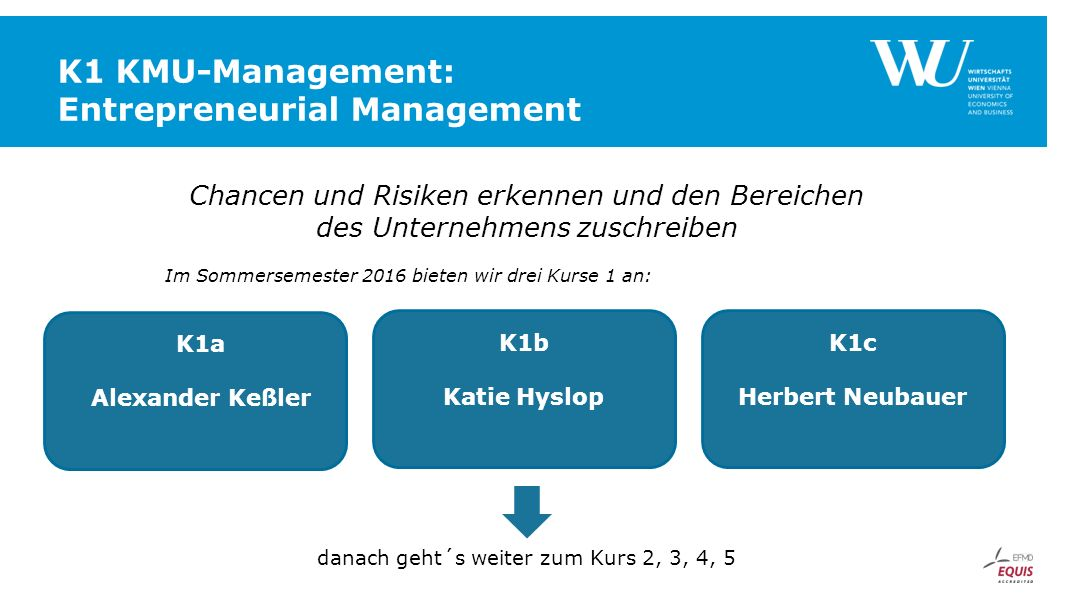 K1 KMU-Management: Entrepreneurial Management Chancen und Risiken erkennen und den Bereichen des Unternehmens zuschreiben Im Sommersemester 2016 biete
