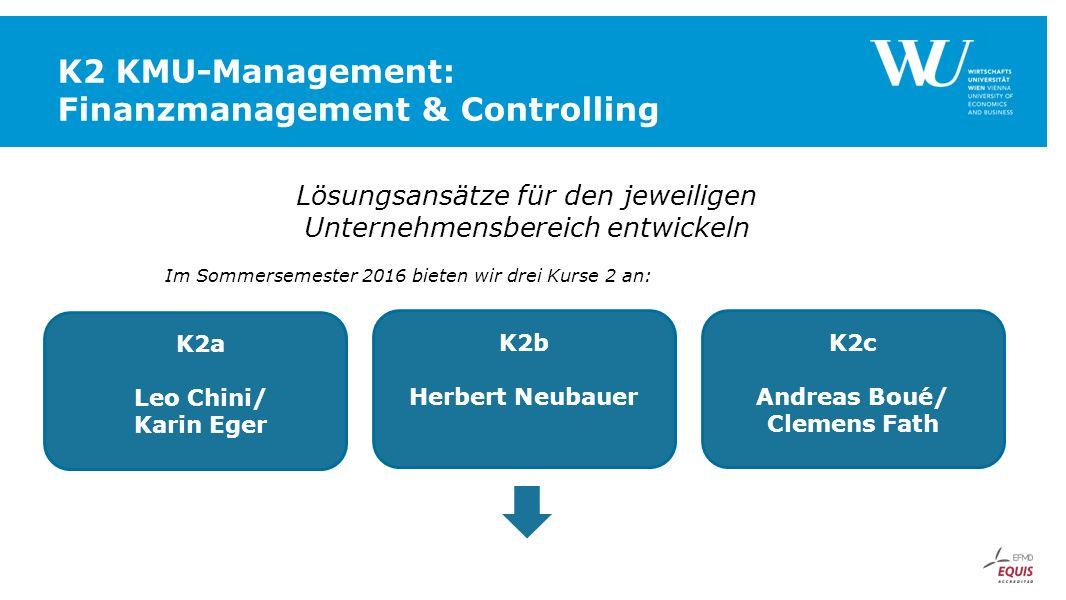 K2 KMU-Management: Finanzmanagement & Controlling Lösungsansätze für den jeweiligen Unternehmensbereich entwickeln Im Sommersemester 2016 bieten wir d