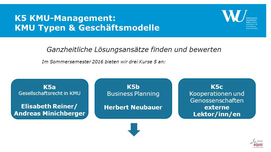 K5 KMU-Management: KMU Typen & Geschäftsmodelle Ganzheitliche Lösungsansätze finden und bewerten Im Sommersemester 2016 bieten wir drei Kurse 5 an: K5