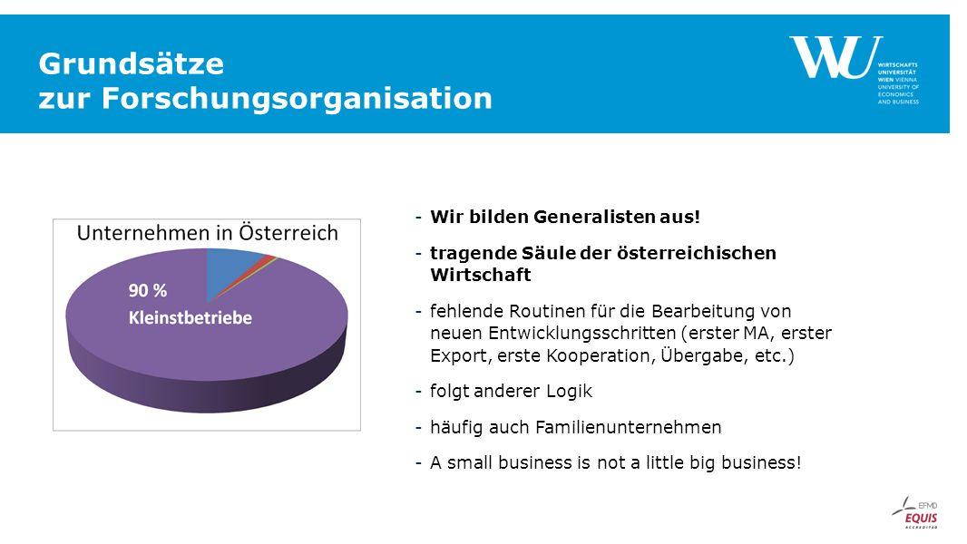 Grundsätze zur Forschungsorganisation -Wir bilden Generalisten aus! -tragende Säule der österreichischen Wirtschaft -fehlende Routinen für die Bearbei