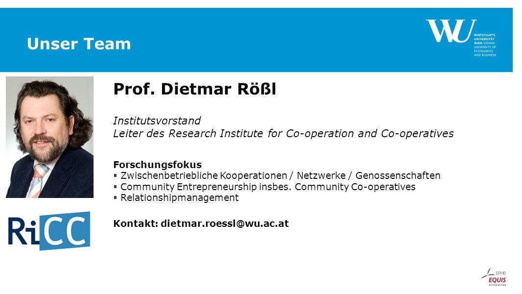 Unser Team Prof. Dietmar Rößl Institutsvorstand Leiter des Research Institute for Co-operation and Co-operatives Forschungsfokus  Zwischenbetrieblich