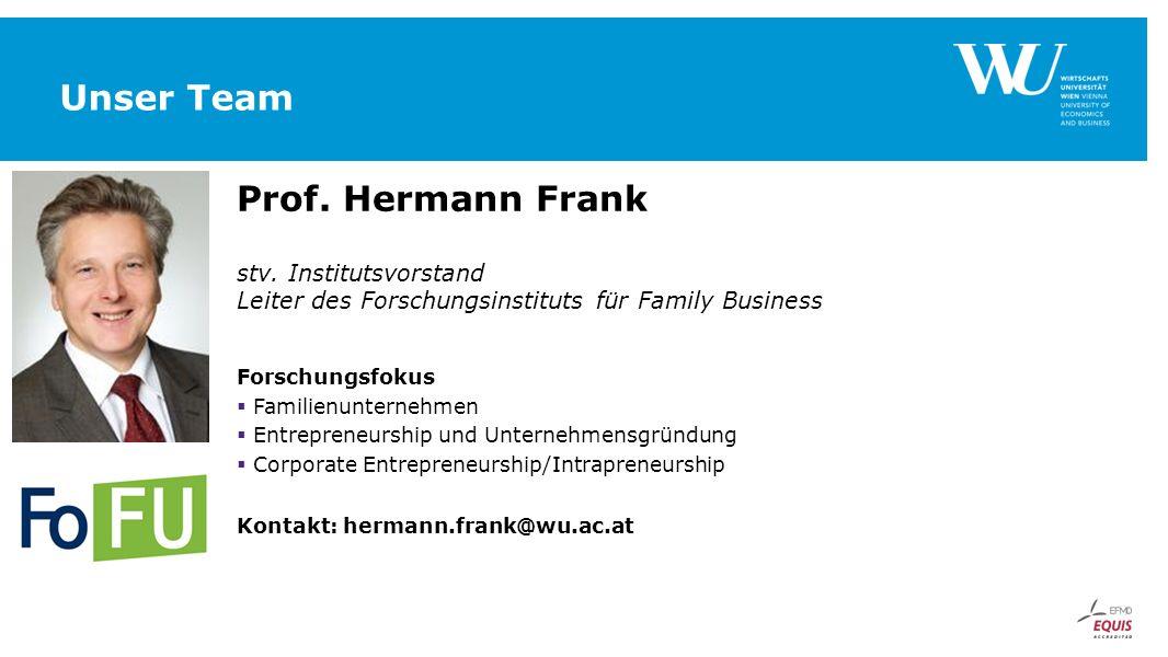 Unser Team Prof. Hermann Frank stv. Institutsvorstand Leiter des Forschungsinstituts für Family Business Forschungsfokus  Familienunternehmen  Entre