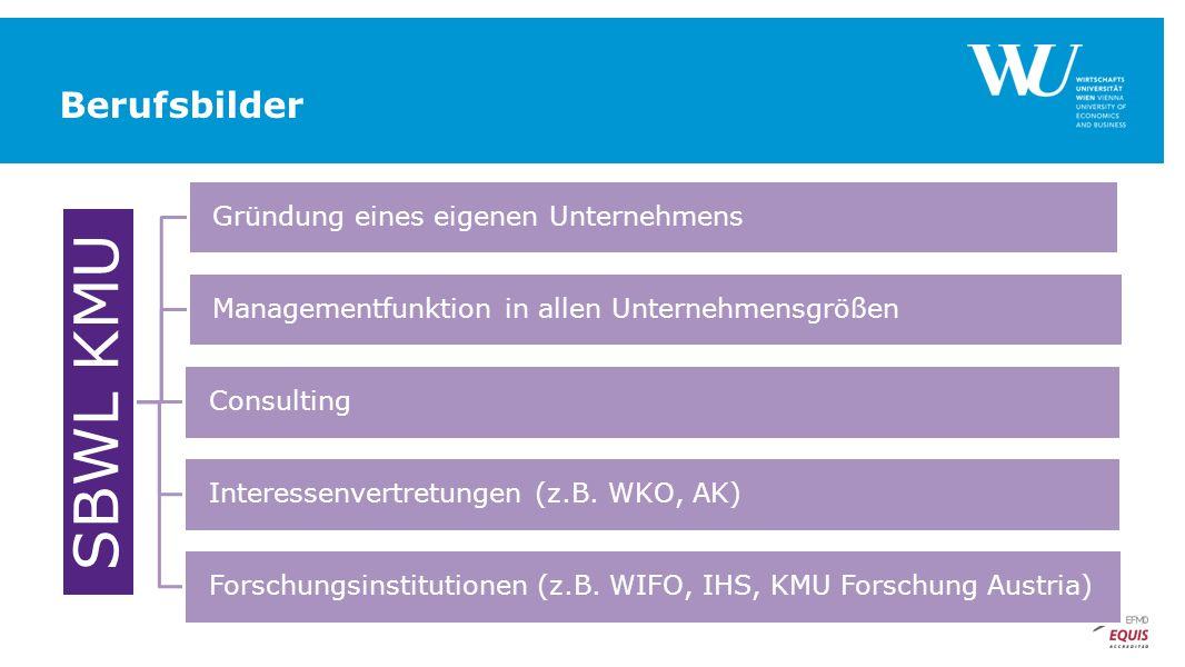 SBWL KMU Gründung eines eigenen Unternehmens Managementfunktion in allen Unternehmensgrößen Consulting Interessenvertretungen (z.B. WKO, AK) Forschung