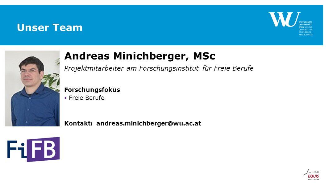 Unser Team Andreas Minichberger, MSc Projektmitarbeiter am Forschungsinstitut für Freie Berufe Forschungsfokus  Freie Berufe Kontakt: andreas.minichb