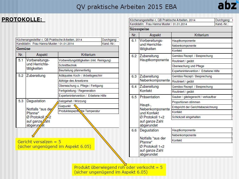 QV praktische Arbeiten 2015 EBA Produkt überwiegend roh oder verkocht = 5 (sicher ungenügend im Aspekt 6.05) Gericht versalzen = 5 (sicher ungenügend im Aspekt 6.05) PROTOKOLLE: