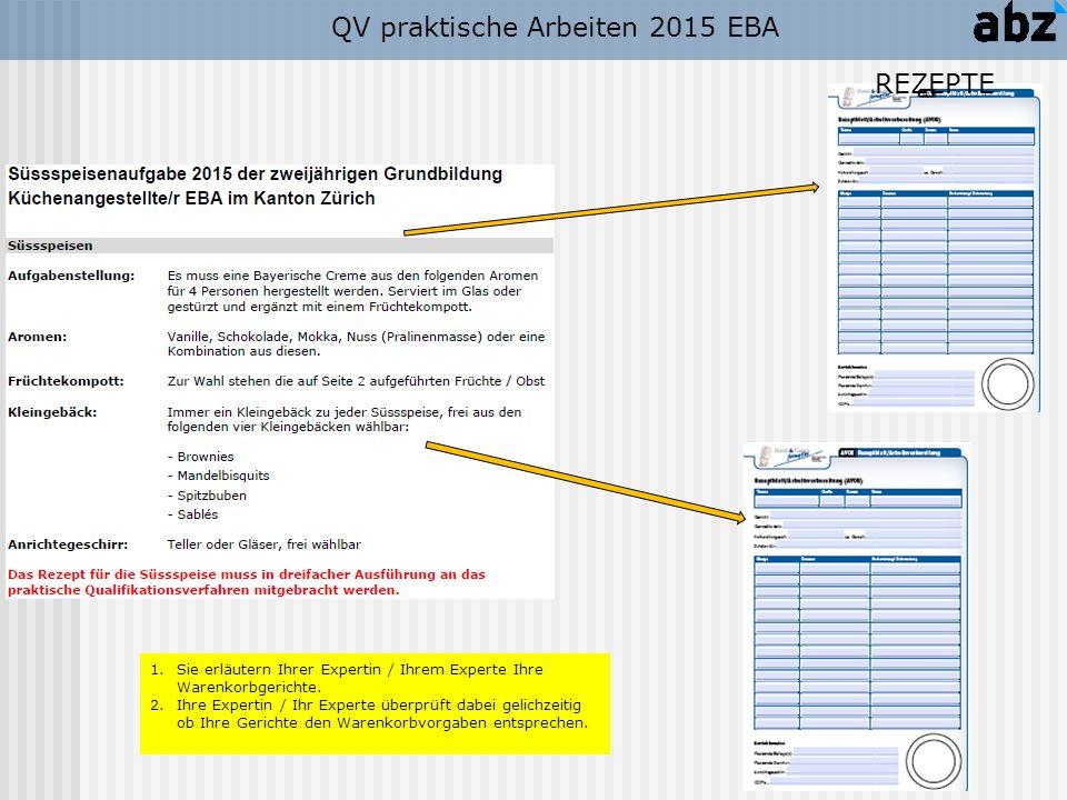 QV praktische Arbeiten 2015 EBA 1.Sie erläutern Ihrer Expertin / Ihrem Experte Ihre Warenkorbgerichte. 2.Ihre Expertin / Ihr Experte überprüft dabei g