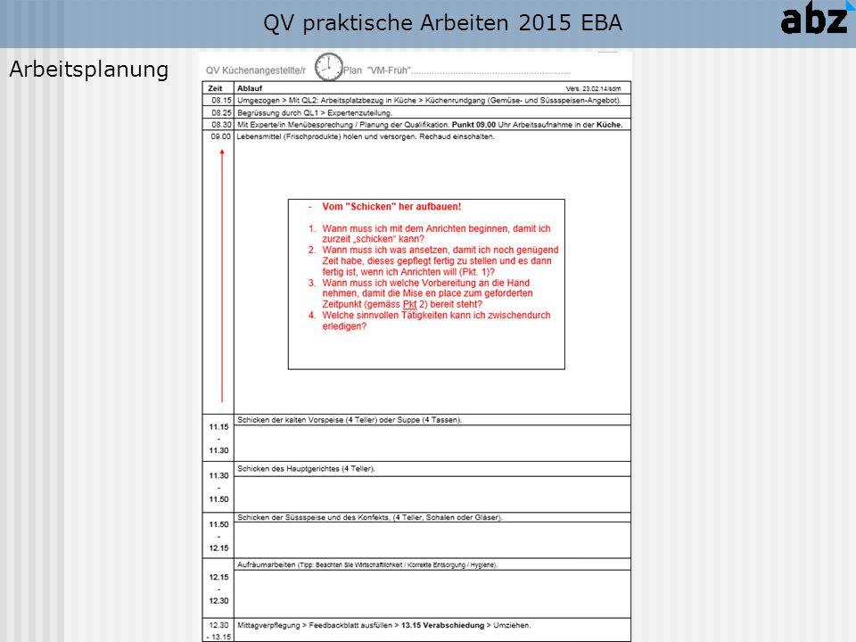 QV praktische Arbeiten 2015 EBA Aufbau der PROTOKOLLE (Beispiel):
