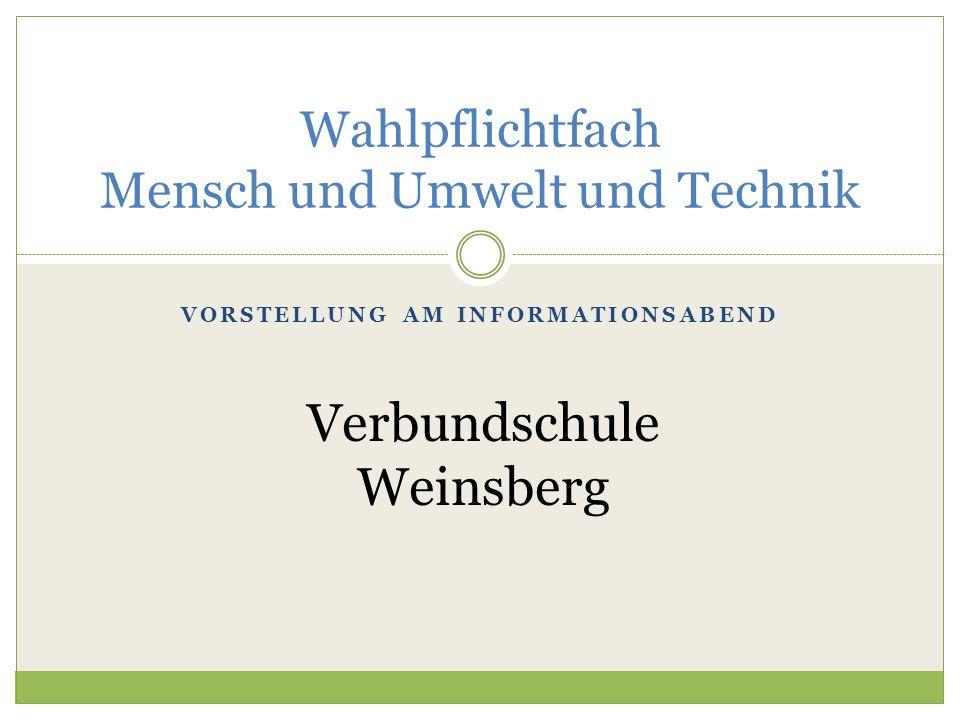 VORSTELLUNG AM INFORMATIONSABEND Wahlpflichtfach Mensch und Umwelt und Technik Verbundschule Weinsberg