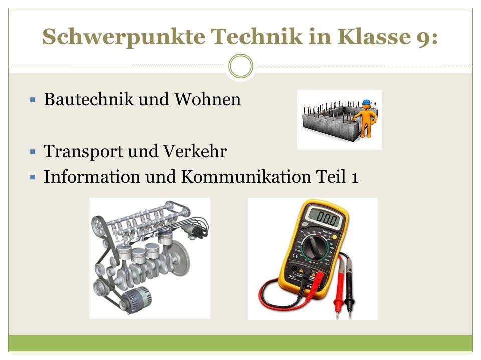 Schwerpunkte Technik in Klasse 9:  Bautechnik und Wohnen  Transport und Verkehr  Information und Kommunikation Teil 1
