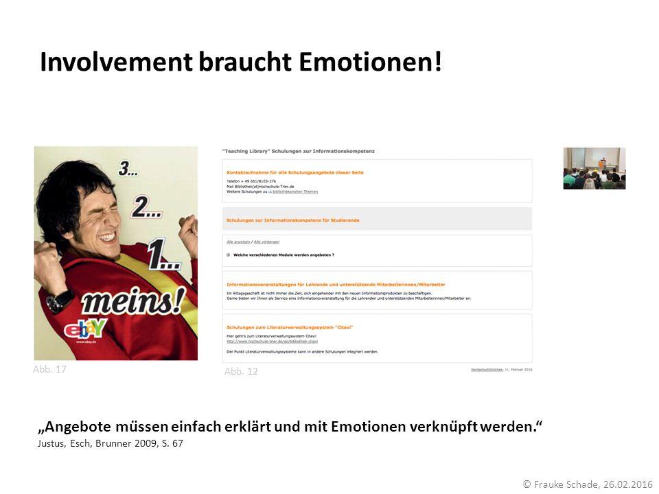 """Involvement braucht Emotionen! Abb. 17 Abb. 12 © Frauke Schade, 26.02.2016 """"Angebote müssen einfach erklärt und mit Emotionen verknüpft werden."""" Jus"""