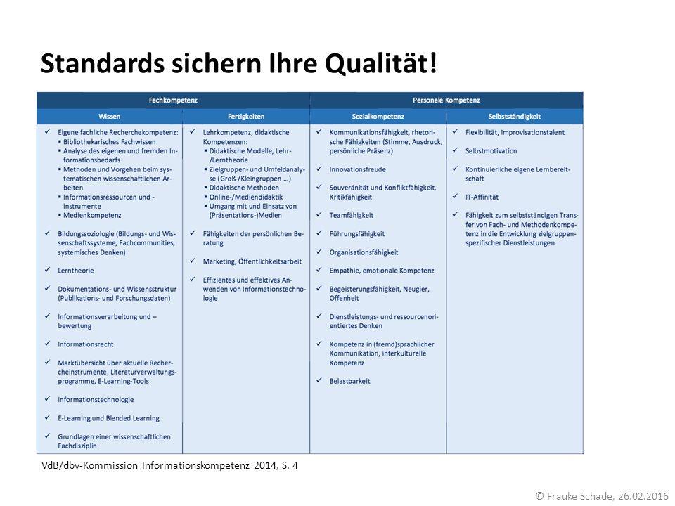 Standards sichern Ihre Qualität! © Frauke Schade, 26.02.2016 VdB/dbv-Kommission Informationskompetenz 2014, S. 4