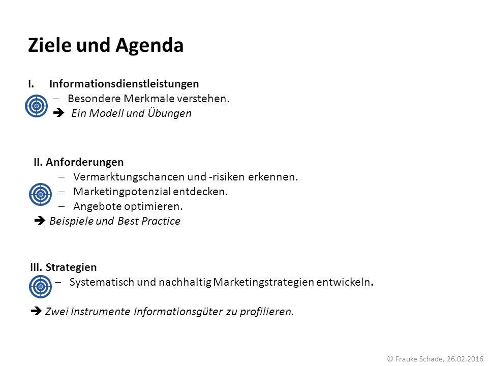 Ziele und Agenda I.Informationsdienstleistungen  Besondere Merkmale verstehen.  Ein Modell und Übungen II. Anforderungen  Vermarktungschancen und -
