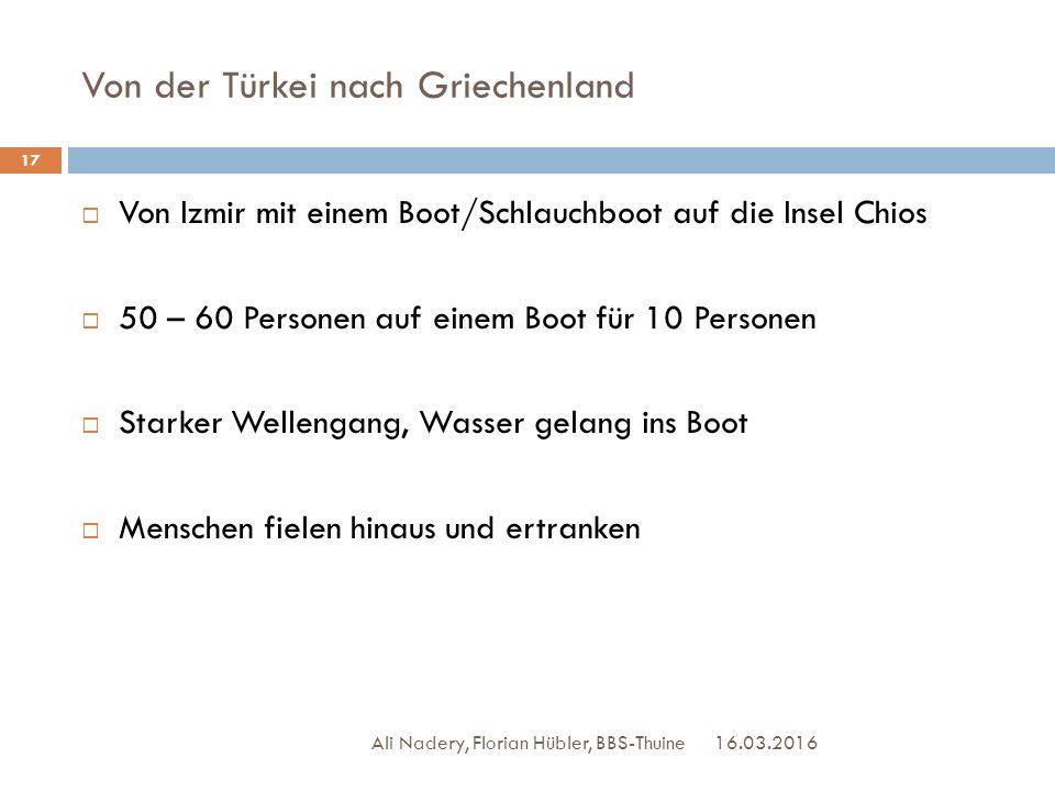 Von der Türkei nach Griechenland 16.03.2016 Ali Nadery, Florian Hübler, BBS-Thuine 17  Von Izmir mit einem Boot/Schlauchboot auf die Insel Chios  50