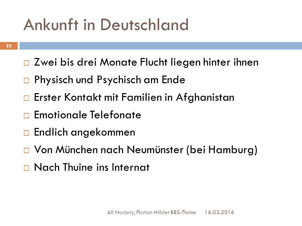 Ankunft in Deutschland 16.03.2016 Ali Nadery, Florian Hübler BBS-Thuine 22  Zwei bis drei Monate Flucht liegen hinter ihnen  Physisch und Psychisch