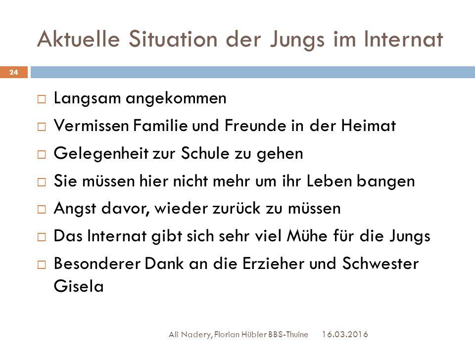 Aktuelle Situation der Jungs im Internat 16.03.2016 Ali Nadery, Florian Hübler BBS-Thuine 24  Langsam angekommen  Vermissen Familie und Freunde in d
