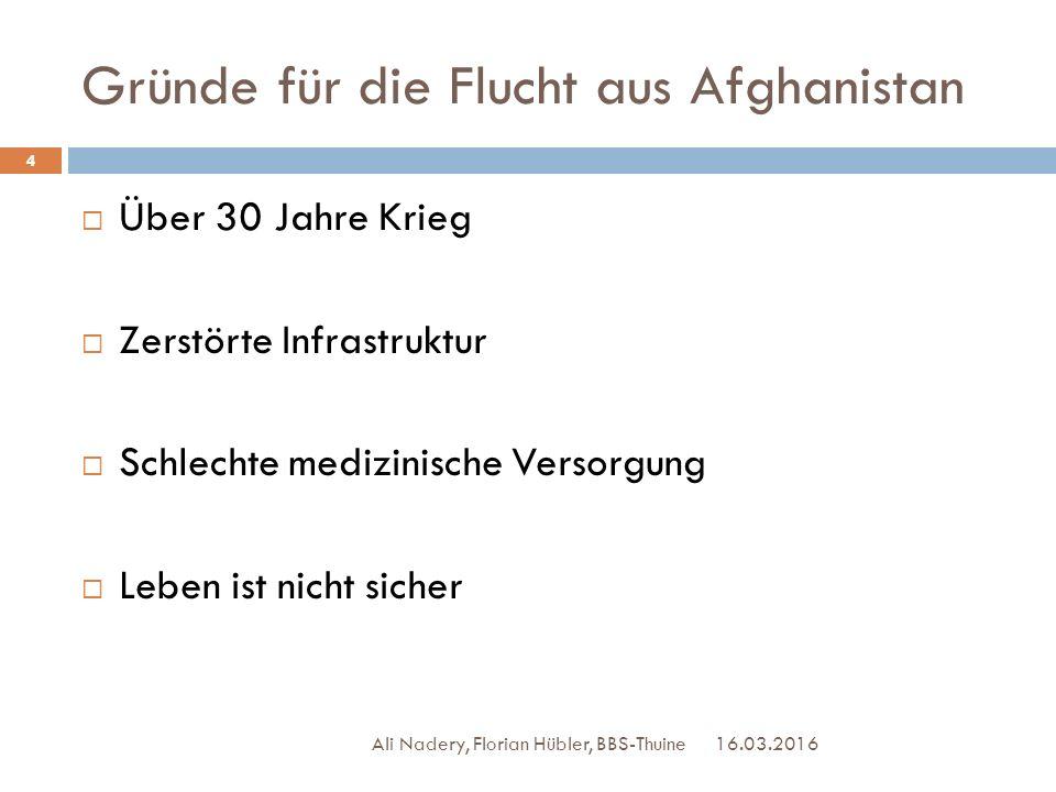 Gründe für die Flucht aus Afghanistan 16.03.2016 Ali Nadery, Florian Hübler, BBS-Thuine 4  Über 30 Jahre Krieg  Zerstörte Infrastruktur  Schlechte