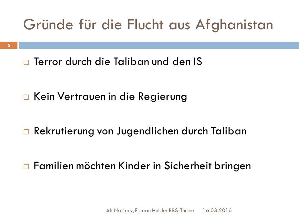 Gründe für die Flucht aus Afghanistan 16.03.2016 Ali Nadery, Florian Hübler BBS-Thuine 5  Terror durch die Taliban und den IS  Kein Vertrauen in die
