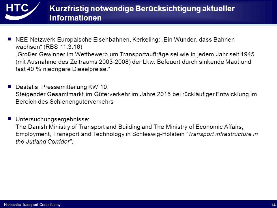 """Hanseatic Transport Consultancy Kurzfristig notwendige Berücksichtigung aktueller Informationen  NEE Netzwerk Europäische Eisenbahnen, Kerkeling: """"Ein Wunder, dass Bahnen wachsen (RBS 11.3.16) """"Großer Gewinner im Wettbewerb um Transportaufträge sei wie in jedem Jahr seit 1945 (mit Ausnahme des Zeitraums 2003-2008) der Lkw."""