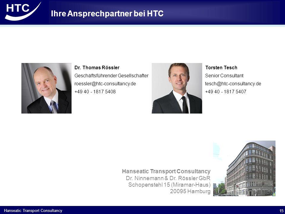 Hanseatic Transport Consultancy Ihre Ansprechpartner bei HTC 15 Dr.