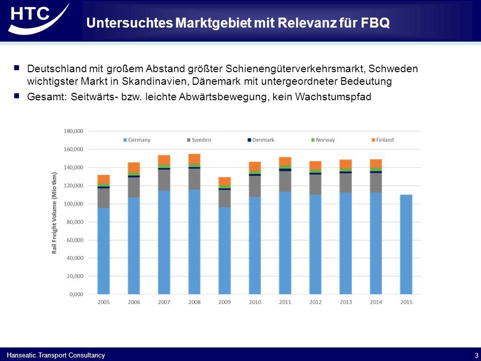 Hanseatic Transport Consultancy Untersuchtes Marktgebiet mit Relevanz für FBQ 3  Deutschland mit großem Abstand größter Schienengüterverkehrsmarkt, Schweden wichtigster Markt in Skandinavien, Dänemark mit untergeordneter Bedeutung  Gesamt: Seitwärts- bzw.