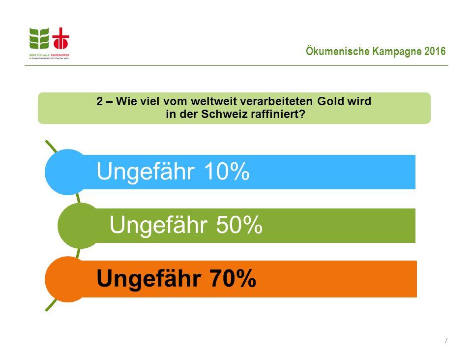 Ökumenische Kampagne 2016 7 Ungefähr 10% Ungefähr 50% Ungefähr 70% 2 – Wie viel vom weltweit verarbeiteten Gold wird in der Schweiz raffiniert?