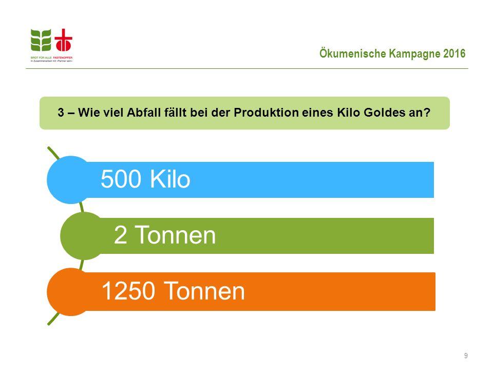 9 3 – Wie viel Abfall fällt bei der Produktion eines Kilo Goldes an? 500 Kilo 2 Tonnen 1250 Tonnen