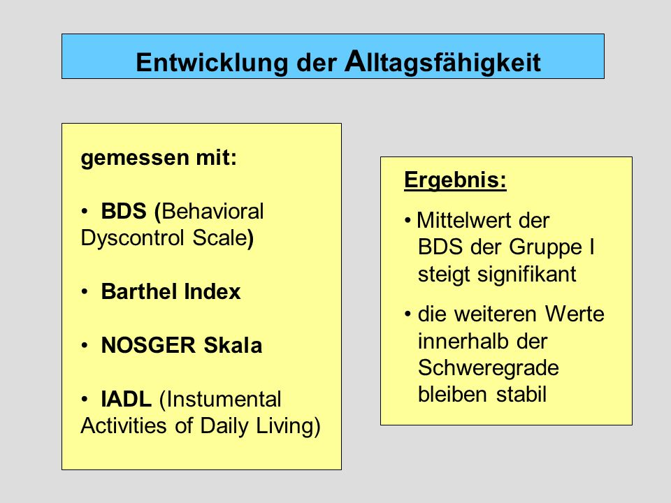 Entwicklung der A lltagsfähigkeit gemessen mit: BDS (Behavioral Dyscontrol Scale) Barthel Index NOSGER Skala IADL (Instumental Activities of Daily Liv